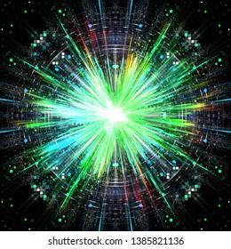 Science fiction explosion, digital illustration