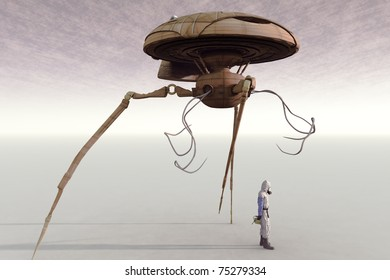 Science fiction futuristic space craft long robotic legs and tentacles extended and male explorer on a barren gas planet.