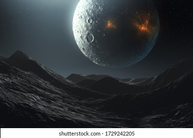 science fiction futuristic space landscape, alien planet and cities on moon, 3d illustration