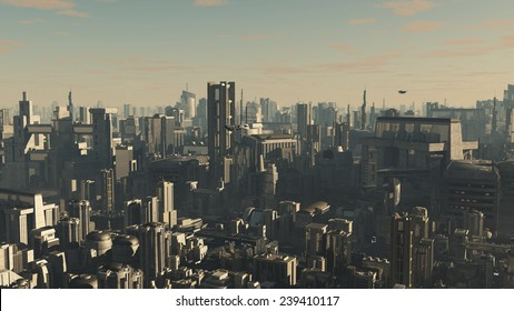 Science fiction illustration of the aerial view a future city at late afternoon with low lighting and shuttle craft overhead, 3d digitally rendered illustration