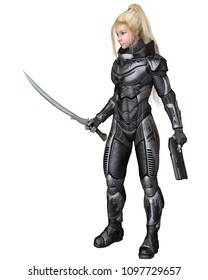Science fiction illustration of an blonde female future soldier in protective armoured space suit, digital illustration (3d rendering)