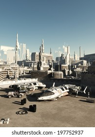 Science fiction illustration of a busy spaceport in a future city on a bright sunny day, 3d digitally rendered illustration
