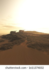 Science fiction illustration of a convoy of future battle tanks crossing the desert on a an alien world, 3d digitally rendered illustration, 3d rendering
