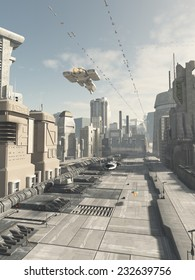 Science fiction illustration of a future city street with aerial traffic overhead, 3d digitally rendered illustration
