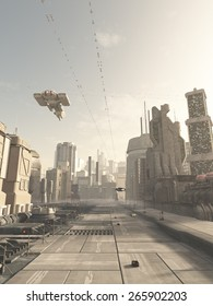 Science fiction illustration of a future city street with space cruiser and other aerial traffic overhead in hazy sunshine, 3d digitally rendered illustration