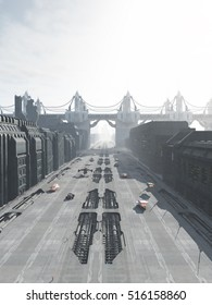 Science fiction illustration of a future city street with road traffic and bridge or flyover, digital illustration (3d rendering)
