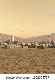Science fiction illustration of a future farming colony outpost on an alien Mars-like desert planet, 3d digitally rendered illustration, 3d rendering