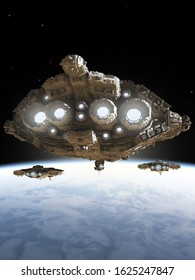 Science fiction illustration of a group of battle cruiser spaceships above a blue planet, 3d digitally rendered illustration, 3d rendering