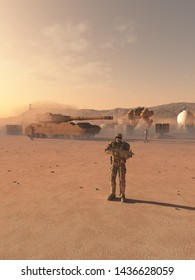 Science fiction illustration of a group of future space marines at an outpost camp on an alien desert planet, 3d digitally rendered illustration, 3d rendering