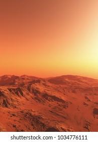 Science fiction illustration of an imaginary Martian landscape, digital illustration (3d rendering)