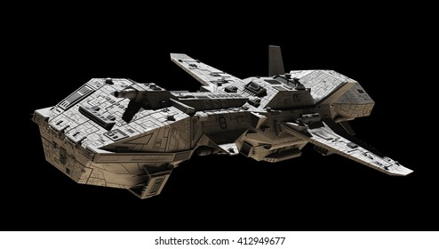Science fiction illustration of an interplanetary spaceship, isolated on black, side angled view, digital illustration (3d rendering)