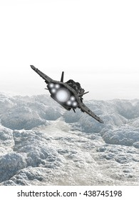 Science fiction illustration of an interplanetary spaceship in the atmosphere flying low over the rocky surface of an alien planet, digital illustration (3d rendering)