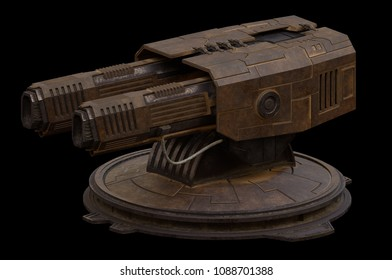 Science fiction illustration of a large rotating gun turret isolated on black, digital illustration (3d rendering)