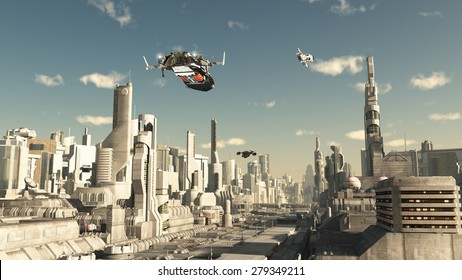 Science fiction illustration of a scout ship making a final approach to landing in a future city, 3d digitally rendered illustration