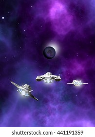 Science fiction illustration of a small fleet of three spaceships flying towards a dark planet and purple nebula in deep space, digital illustration (3d rendering)