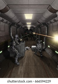 Science fiction illustration of space marines and aliens fighting in a space station or spaceship corridor, digital illustration (3d rendering)
