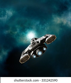 Science fiction illustration of a spaceship about to enter a wormhole in deep space, 3d digitally rendered illustration