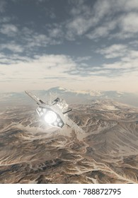 Science fiction illustration of a spaceship inside the atmosphere flying over the snowy mountains of an alien planet, digital illustration (3d rendering)