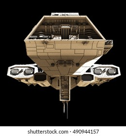 Science fiction illustration of a spaceship isolated on a black background, viewed from the front, digital illustration (3d rendering)