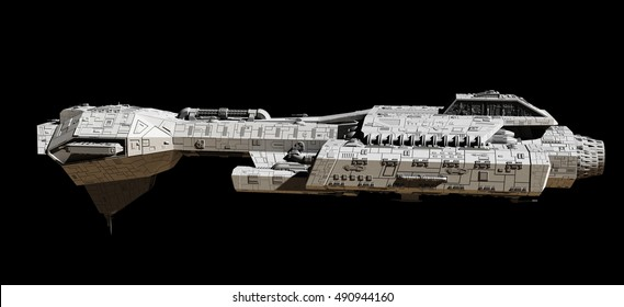 Science fiction illustration of a spaceship isolated on a black background, viewed from the side, digital illustration (3d rendering)