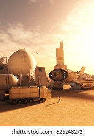 Science fiction illustration of a spaceship visiting a refuelling station in the desert on an alien world, digital illustration (3d rendering)