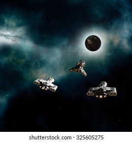 Science fiction illustration of three spaceships approaching a dark alien planet in deep space, 3d digitally rendered illustration