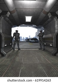 Science fiction illustration of two future soldiers standing guard at a space dock hangar, digital illustration (3d rendering)