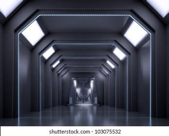 Science fiction interior scene - sci-fi dark corridor