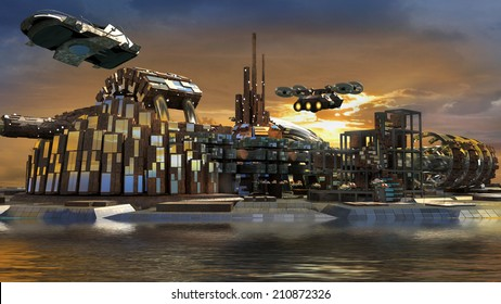 Science fiction island city with metallic ring structures on water and hoovering aircrafts in sunset for futuristic or fantasy backgrounds