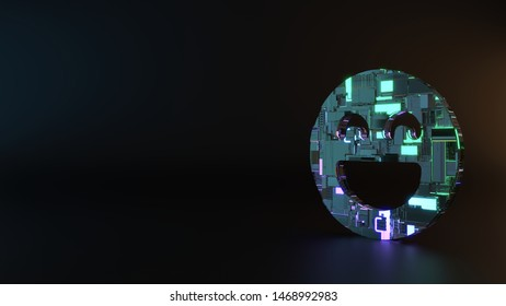 science fiction metal neon blue violet glowing symbol of goofy emoticon  3D rendering machinery with blurry reflection on floor