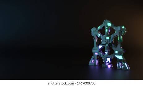 science fiction metal neon blue violet glowing symbol of atomium landmark building 3D rendering machinery with blurry reflection on floor