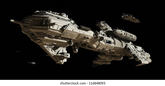 Science fiction scene of a futuristic interstellar escort frigate and small scout ships travelling through deep space, 3d digitally rendered illustration