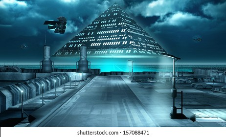 Science fiction scenery with a flying pyramid