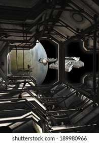 Science fiction spaceship leaving dock watched by a space marine guard, 3d digitally rendered illustration