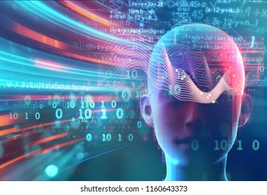 science formula and math equation abstract background. concept of machine learning and artificial  intelligence. 3d illustration