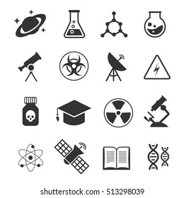 Science icons. Science of icons set atom and dna, technology science medical and chemistry illustration