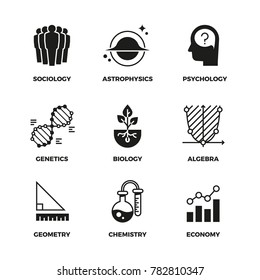 Science icons set. Genetics and economy, algebra and chemistry. Geometry and biology, psychology and astrophysics, sociology symbols. Monochrome illustration sign of science discipline