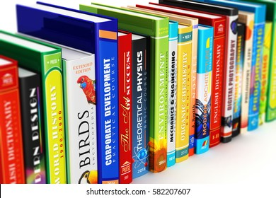 Science, knowledge, education, back to school, business and corporate office life concept: 3D render of the macro view of color hardcover books isolated on white background with selective focus effect