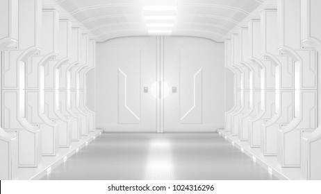 science lap, sci-fi corridor white color , 3D render.
