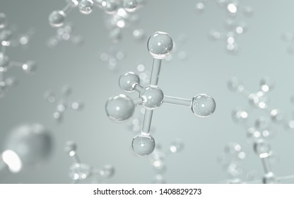 Science with molecule or atom background, Structure for Science, 3d render.