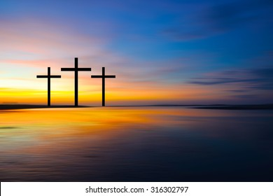Science and religion. Christian religion.  Illustration with cross of christ at sunset nature background .