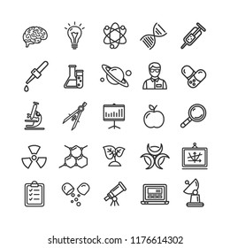 Science Research Thin Line Icon Set Like Microscope, Magnifier, Light Bulb Idea. Elements for Mobile UI Concepts and Web Apps Scientific Sign.