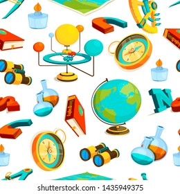 Science seamless pattern. pictures of geography and science. Illustration of binoculars and sextant, burner and compass
