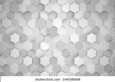 Science Technology Hexagonal Pattern 3D Render White Abstract Background. Ultra High Quality Wallpaper