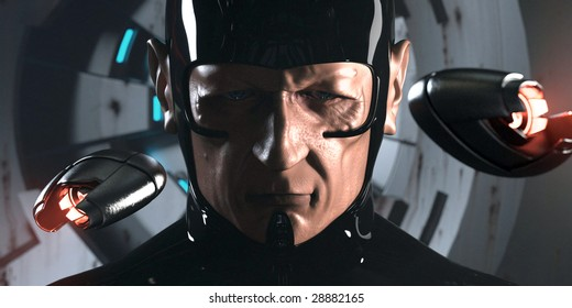 Science-fiction character from video game or movie (3D render)