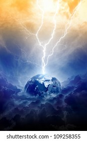Scientific background - big lightning hits planet Earth in dark dramatic sky