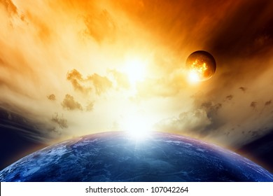 Scientific background - planet Earth and Moon in cloudy red space. Elements of this image furnished by NASA