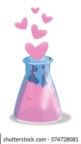 Scientific Beaker with love hearts.