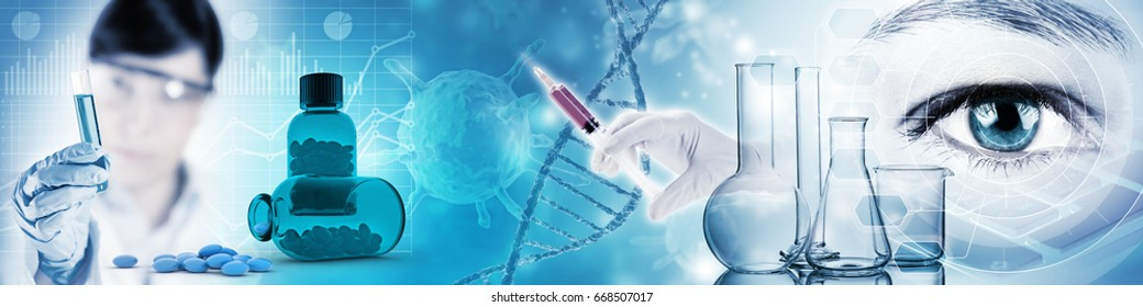 scientific and medical research abstract background, 3D illustration