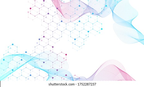 Scientific molecule background DNA double helix illustration with shallow depth of field. Mysterious wallpaper or banner with a DNA molecules. Genetics information illustration.